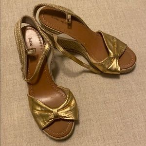 Gold bow Kate Spade wedges